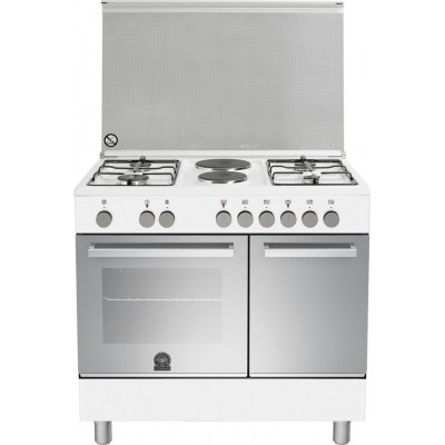 La Germania TUP9 42 61 D W Λευκή Κουζίνα με 4 Εστίες Αερίου + 2 Ηλεκτρικές, Με Ηλεκτρικό Φούρνο & Ντουλάπι Για Μποτίλια