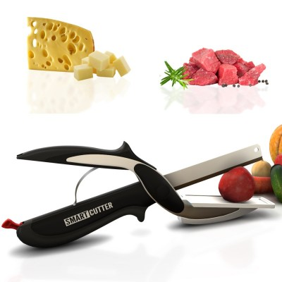 Herzberg HG-5043 Έξυπνο ψαλίδι/μαχαίρι με βάση κοπής 2 σε 1