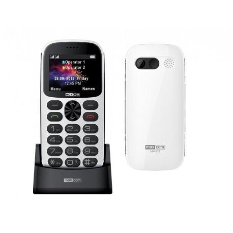 "Maxcom MM471 Dual SIM 2.2"" με Μεγάλα Πλήκτρα, Βάση Φόρτισης, Ραδιόφωνο, Φακό, Κάμερα & Πλήκτρο SOS Λευκό"