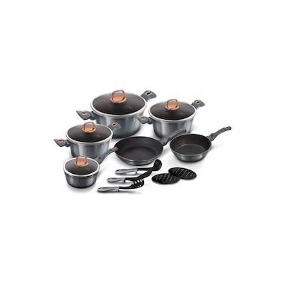 Berlinger Haus Moonlight Edition, 15 τμχ BH 6022 Σετ Μαγειρικών Σκευών με τριπλή μαρμάρινη επίστρωση