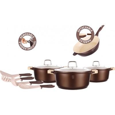 Berlinger Haus BH-1122 Σετ μαγειρικά σκεύη 11 τεμαχίων, με αφαιρούμενες λαβές & μαρμάρινη επίστρωση x3, Granit Diamond Line