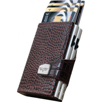 Tru Virtu Click & Slide Croco Wallet Brown/Silver