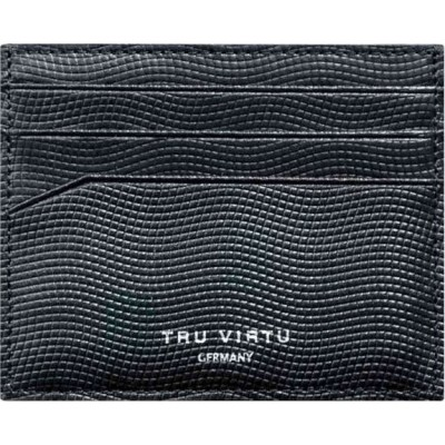 Tru Virtu Wallet Soft Lizard Black Δερμάτινο Πορτοφόλι