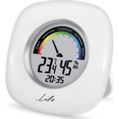 Life WES-103 Ψηφιακό θερμόμετρο / υγρόμετρο εσωτερικού χώρου με ρολόι και έγχρωμη απεικόνιση επιπέδου υγρασίας, σε λευκό χρώμα.